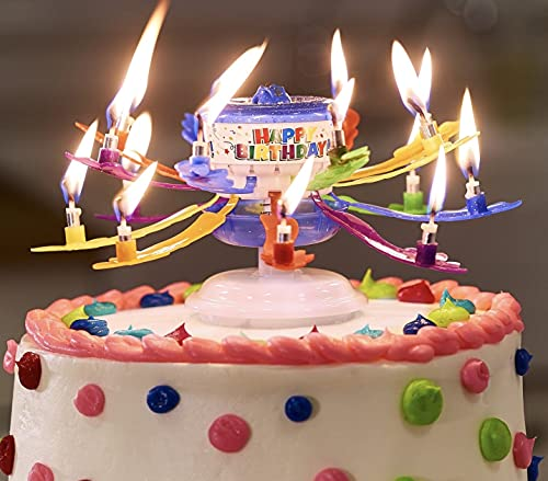 GLE Colorfully Incredible Birthday Candles -Decorative Cake Topper -Candle Opens & Spins 16 Candles-One Candle Lights Them All Plays Happy Birthday!