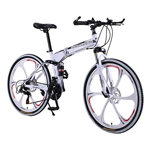Mountain Bike Variable Speed Folding Bicycle 26 Inch Adult Men and Women Bike (White)