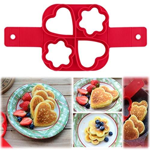 PULABO Pancake Maker Fantastico modo veloce e semplice per preparare una perfetta cottura a quattro fori fai da te strumento ro