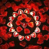 Bdecoll San Valentín & Bodas Decoración,1000 Piezas Pétalos de Rosa| 50 Rojo Velas Románticas de Corazón de Amor Para Decoración de Mesa de Boda, Día de San Valentín, Aniversario