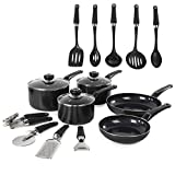 Morphy Richards Equip Frying Pan And Saucepan Set 5 Piece, Includes 9 Piece Tool Cookware Set, Non Stick Ceramic Coating, Black