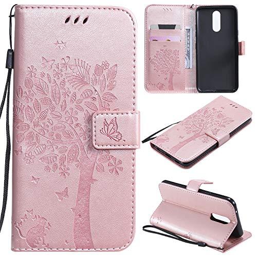 Nancen Compatible with Handyhülle LG K40 / K12 Plus Hülle, Flip-Hülle Handytasche - Standfunktion Brieftasche & Kartenfächern - Baum & Katze - Rose Gold