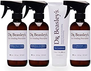 Dr. Beasley's Complete Wheel and Tire Detailing Prescription with Accessories - Cleans and Protects Wheels & Tires, 2-3 Mo...