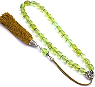 Green Amber Gemstone Handmade Worry Beads (Komboloi), 925 Sterling Silver Parts, Style B, Length 46cm (18