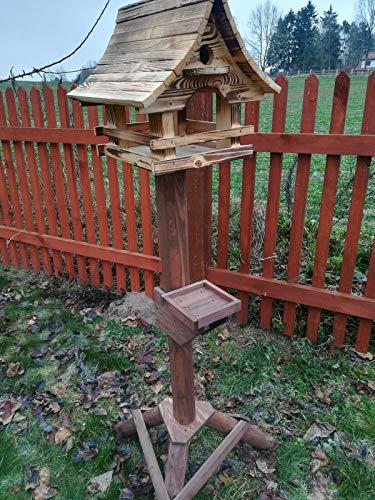 Vogelhaus mit Nistkasten und Ständer aus Holz, Futterhaus, Futterstation für Wildvögel, Vogelfutterhaus zum Stellen für den Garten oder Balkon 6 Farben (Verbrannt)