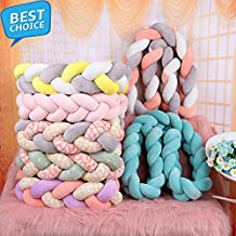 1M/2M/3M Length Nordic Knot Newborn Bumper Knot Long Knotted Braid Pillow Baby Bed Bumper in The Crib Infant Room Decor (White+Grey+Green, 2M)