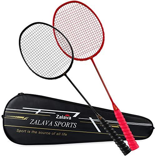 Zalava Carbon Badmintonschläger Set, Badminton Set Super Leicht Badminton Schläger Set Mit Wickelgriff, Graphit Professionell Saite Mit Tragetasche für Anfänger und fortgeschrittener Spieler