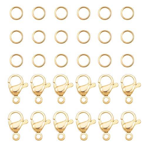 PandaHall 120 anillos de salto de acero inoxidable 304 de 4 mm con 60 cierres de langosta...