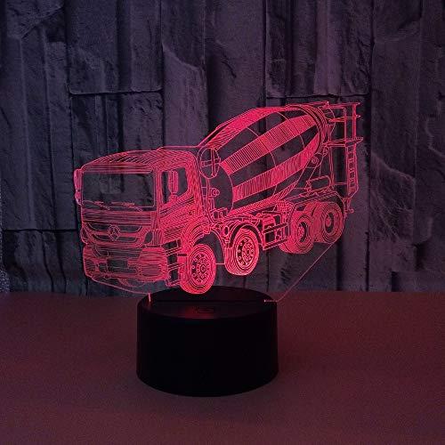 BFMBCHDJ New Mixer 3D Nachtlicht USB Powered Bunte Touch-Schalter Stereo 3D Desktop Kleine Tischlampe A2 Weiß Riss Basis