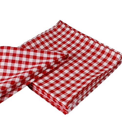 Hans-Textil-Shop Servietten Karo 1x1 cm Baumwolle - Stoffserviette, Tischdeko, Karomuster, Kariert, Landhaus, Nachhaltig (Rot, 50x50 cm)