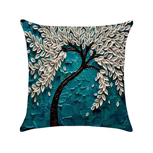 VOSAREA Piso Impreso Pintura Al Óleo 3D Árbol Grande y Flor de Algodón Lino Throw Pillow Case Funda de Cojín Home Sofa Decorativo 45x45 cm (Pachira)