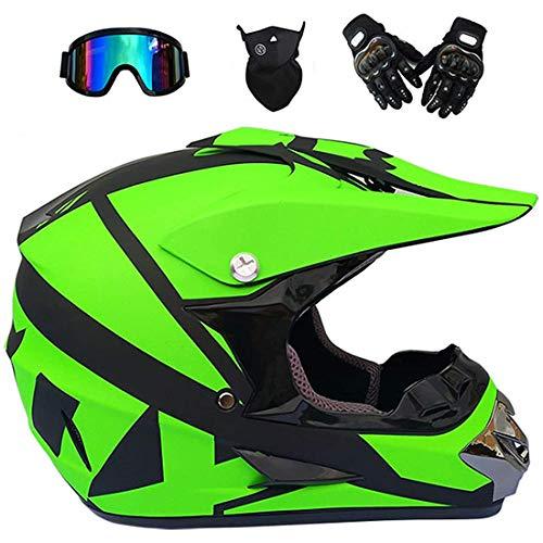 Casco de motocross con gafas, guantes de máscara, casco eléctrico de moto de cross de cara completa para jóvenes y adultos, Quad Bikes BMX Bicicleta MTB ATV Offroad DH Casco, certificación DOT