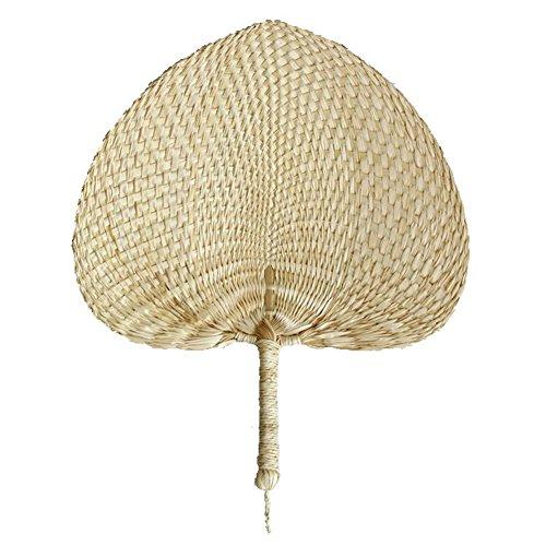 Tenlife - Abanicos de mano con hojas de palma, hechos a mano, de rafia natural, perfectos para el verano, vintage, rústico, boda, fiesta, baile