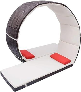 vidaXL Chaise Longue Forme de Boucle Bain de Soleil de Jardin Transat de Patio Chaise Longue d'Extérieur Terrasse Plage R