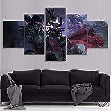 wafv Drucke Auf Leinwand 5 Stück Sylvanas Windrunner World of Warcraft Kampf Um Azeroth Undead Elf Girl Spiel Poster Kunst Wanddekor Gemälde Rahmenlose Malerei