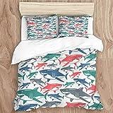 Juego de funda nórdica, mezcla de tiburones de coloridos patrones de familia de tiburones toro, maestros, supervivencia, depredadores, naturaleza peligrosa, juego de cama decorativo de 3 piezas con 2