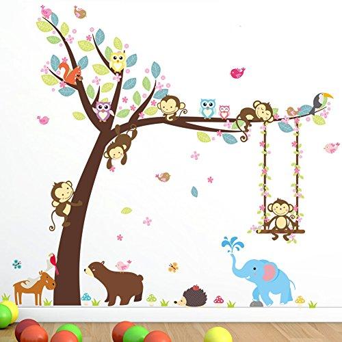Wallpark Mignon Hibou Cerf Éléphant Singe Fleur Arbre Fleur Vigne Balançoire Amovible Stickers Muraux Autocollants, Enfants Bébé Chambre Pépinière DIY Décoratif Adhésif Stickers Mural