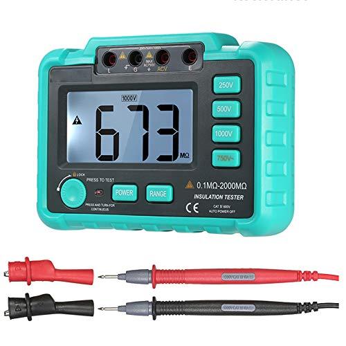 Isolationswiderstand Tester, Digitale Megohmmeter mit Messleitungen und LCD-Anzeige für Widerstand Prüfung von Motoren, Kabel, elektrische Geräte