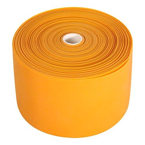 POWRX Elastici fitness 45M x 12,5 cm - Bande elastiche di resistenza per esercizi di pilates, riabilitazione e potenziamento muscolare - In lattice + PDF workout (Extra extra forte, Arancione)