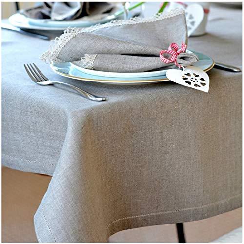 Linen & Cotton Elegante Festliche Tischdecke Stoff Tischtuch Tischwäsche Florence mit Hohlsaum, Lang -100% Leinen, Beige Natur (143 x 250 cm) für Deko Hochzeit Hotel Restaurant Cafe Gastronomie