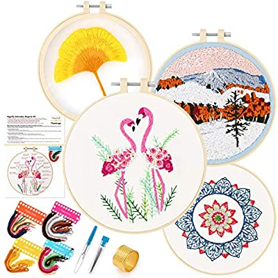 Amazon - Save 40%: Magicfly 4 Sets Embroidery Starter Kit with Pattern and Instruction, Cross Stitch N…