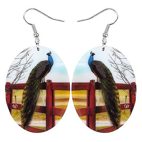N\A Pendientes de pájaro de Pavo Real de Pavo Real Ovalado acrílico Estampado Animal Salvaje Colgante señoras Moda Multicolor