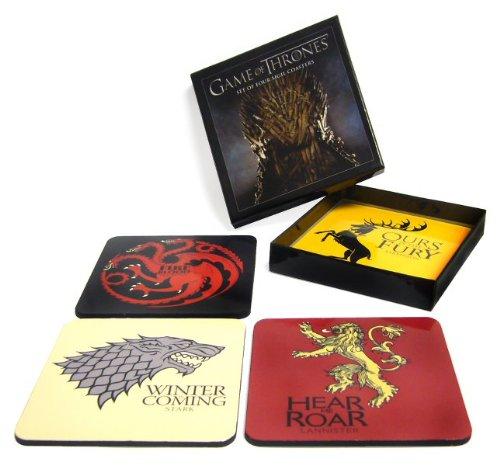 Sd Toys Set de Logos Posavasos Game Of Thrones, Corcho, Multicolor, 11 x 11 x 2, 4 Unidades