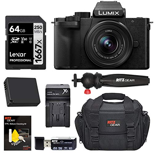Panasonic DC-G100KK LUMIX G100 Mirrorless 4K Vlogging Camera with 12-32mm F3.5-5.6 Lens, Spare Battery, Ritz Gear Camera Bag + Travel Tripod + Lexar 1667x 64GB Memory Card & Accessories