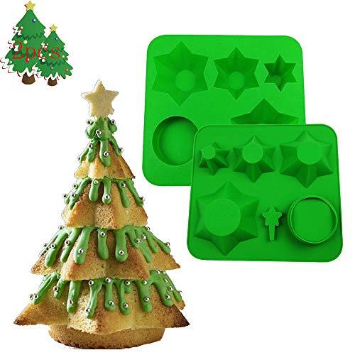 MEISHANG - Stampo in Silicone per Albero di Natale 3D, per Torte di Natale, Stampo per cubetti di Ghiaccio, in Silicone per Albero di Natale, Stampo per Fondente