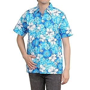 [OKI(オキ)] アロハシャツ フリーサイズ ユニセックス カラフル ダンス 衣装 イベント メンズ レディース (S, アロハブルー)