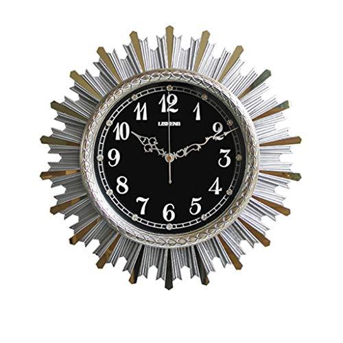 MANLADA-1 Wanddekoration Wanduhr, Schwarzes Zifferblatt-Ausschnitt-Zeiger-Wanduhr Stereoscopic Modelling Gold Silber Wanduhr (Color : Silver, Size : 46.5 * 46.5cm)
