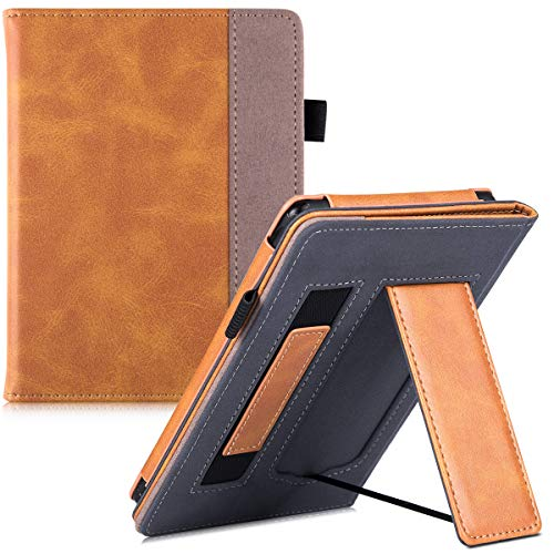 BOZHUORUI Stand Case for Kindle Paperwhite (Fits 10th Gen-2018 / All Paperwhite Generations) - PU Leather Protective Sleeve Cover with Hand Strap/Magnetic Closure/Auto Sleep/Wake (Brown)