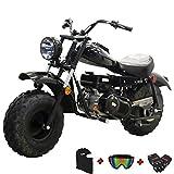 X-PRO Supersized 196CC Youth Mini bike Gas Powered Mini Trail Bike Scooter Carb approved mini motorcyle,19' Wide Fat Balanced Tires! Big headlight!(Black)