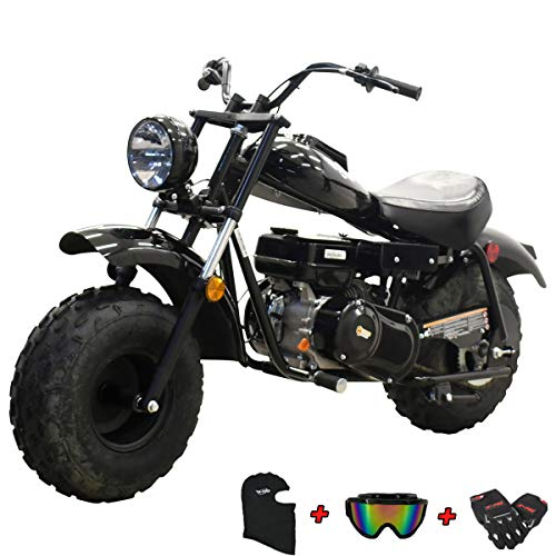 X-PRO Supersized 196CC Youth Mini bike Gas Powered Mini Trail Bike Scooter Carb approved mini motorcyle,19' Wide Fat Balanced Tires! Big headlight!(Black)