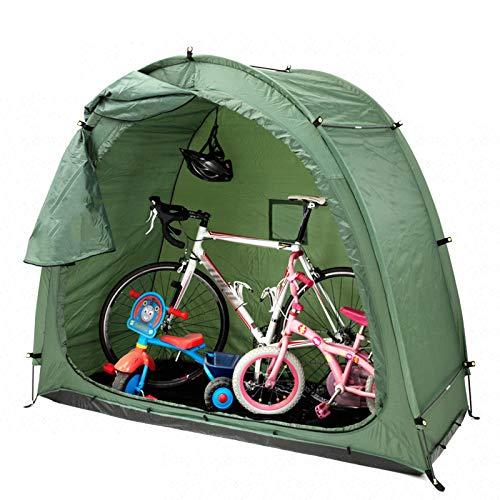 XJZSD Carpa para Bicicletas, tafetán de poliéster 190t, a Prueba de Lluvia a Prueba de Viento, toldo, diseño de Ventana, Montaje rápido al Aire Libre, para Dos Bicicletas para Adultos, Verde
