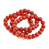 Paialco - Set di 3 braccialetti con perline rotonde da 10 mm, colore: Rosso
