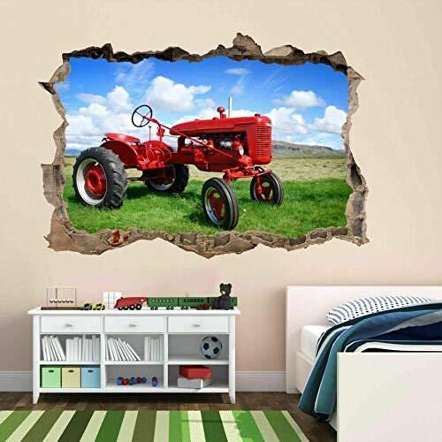 Pegatinas de pared Viejo Tractor Arte de la pared Calcomanía mural Calcomanía para niños Dormitorio Casa Granja Decoración -80 * 110CM