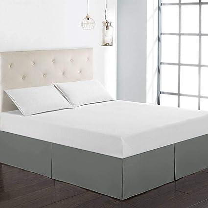 A prueba de polvo Falda de cama,Falda de cama elástica con volantes Cubre unda de somier Tres lados de tela envuelven elástico Faldón de volantes con ...