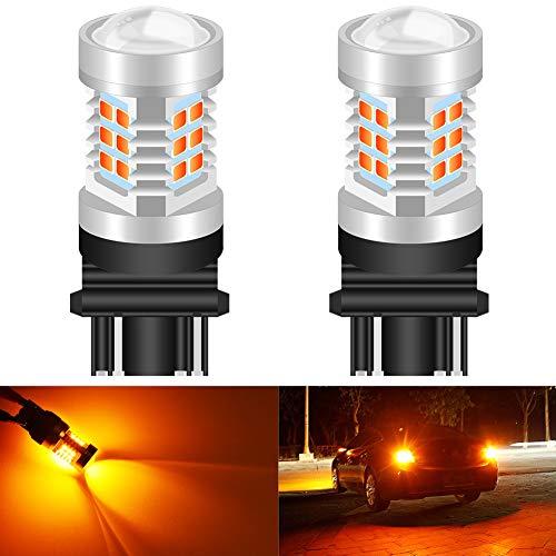 KATUR 3155 3157 3157A 3457A Jeu de puces 2835 extrêmement Lumineuses avec Puissance élevée et projecteur Jaune pour projecteur pour Feux Clignotants (Pack de 2)