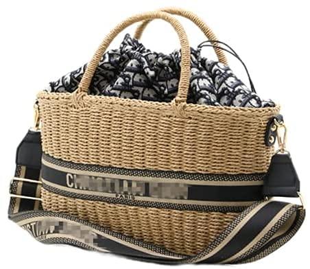 Hand-Woven Straw Handbag Bag Top Handle Satchel Handbags Handmade Large Straw Tote Bag Summer Beach Bag Shoulder Bag for Women