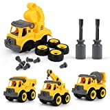 HONYAT 90pcs Construction Truck Take Apart 4-in-1 Vehicle Toys Set with Crane, Excavator, Dump Truck, Cement Truck, Simulate Road Signs & Play Mat, Kids Building Toy for Toddlers Ages 3 4 5 6 Years