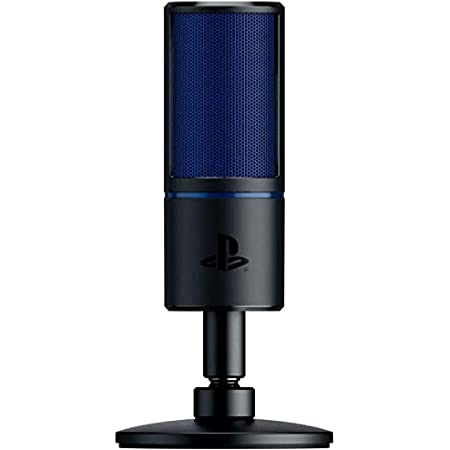 Razer Seirēn X para PS4: Micrófono de Condensador para Juegos - Absorción de Impactos integrada - Micrófono de Streaming de Calidad Profesional, Azul/Negro