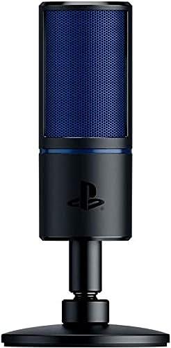 Razer Seiren X pour PlayStation - Microphone à condensateur USB pour le streaming sur PS4 et PS5 (compact avec amorti...