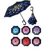 Paraguas Invertido de Doble Capa,Paraguas Plegable de Manos Libres Autoportante,Paraguas a Prueba de Viento Anti-UV para la Lluvia del Coche al Aire Iibre (Flor 2)