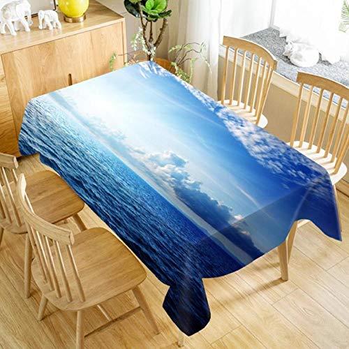 XCZMZ Tischdecke 3D Seascape tischdecke Strand schaukel Muster waschbar staubdicht Dicke Baumwolle rechteckige Hochzeit tischdecke 140x140cm