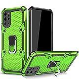 TOPOFU Cover per Xiaomi Poco F3 5G Custodia,Dual Layer PC & TPU Antiurto Paraurti Custodia Lightning Modello con 360° Magnetic Supporto Cover per Xiaomi Poco F3 5G-Verde