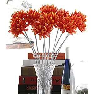 Charmly 10 Pcs Artificial Silk Chrysanthemum Flocking Stem Fake Flowers Home Wedding Party Decor 20.5″ High Orange