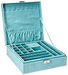 professional KLOUD City Double Layer Lint Box Organizer Storage Showcase, with lock (blue)