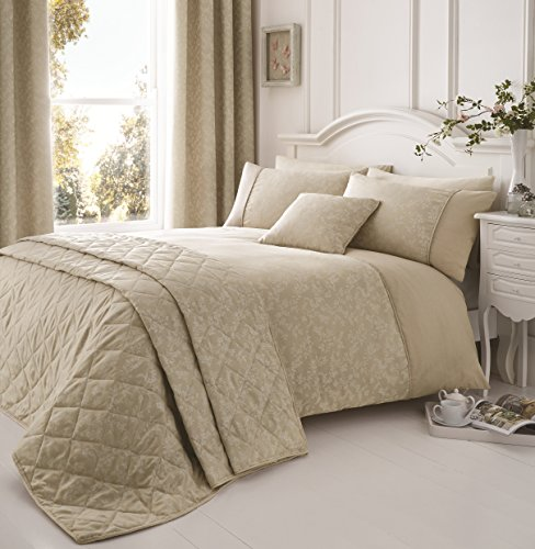Serene - Ebony - Easy Care Floral Trail Duvet Cover Set - Super-King, Natural