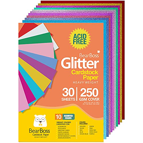 Heavyweight Glitter Cardstock Paper - 92lb. / 250 GSM Cover - 30 Sheets Colored A4 Craft for Gift Wrapping Birthday Arts Craft Project DIY Decoration Scrapbook 10 Assorted Colors